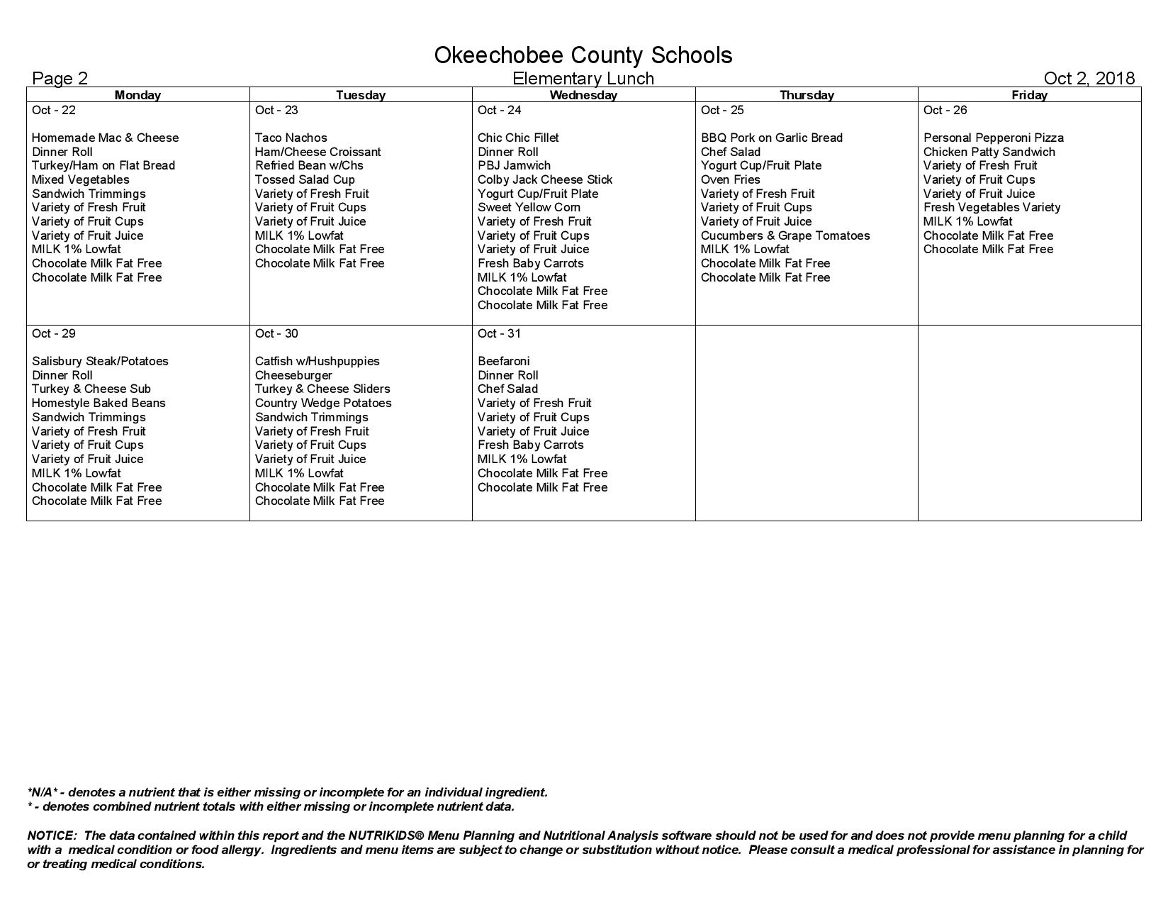 October Lunch Menu Page 2